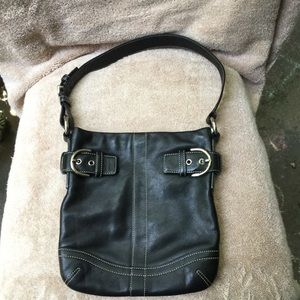 Coach Black Leather Purse with Buckles
